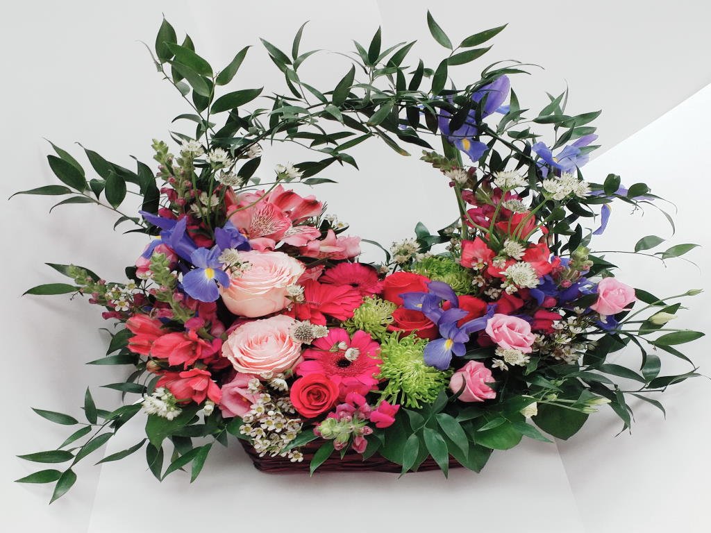 Blooming Path Flower Arrangment In A Basket